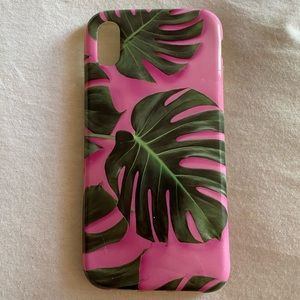 Urban Outfitters pink palm iPhone X case